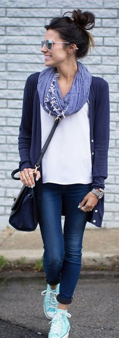 Keep things simple with skinny jeans, a cardigan and a scarf! Check out these style tips for sporting your favorite sneakers and slip-ons!