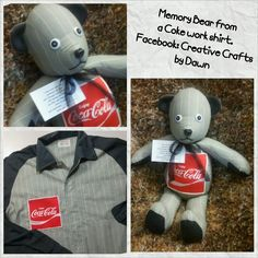 Memory Bear Before n After - ~Huggable~ Memory Bears~Memory Bears are made from loved ones clothing. Facebook: Craetive Crafts by Dawn