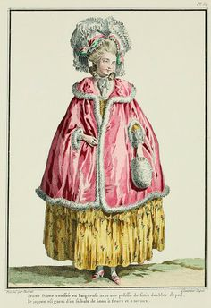 Galerie des Modes, 16e Cahier, 1ere Figure  Young Lady coiffed in a baigneuse with a satin pelisse lined with fur; the petticoat is trimmed with a sprigged linen flounce gathered in pipes. (1778)