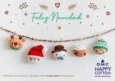 Crochet Christmas Ornaments, Christmas Crochet Patterns, Christmas Crafts, Crochet Dolls, Crochet Baby, Knit Crochet, Christmas And New Year, Needle Felting, Crochet Necklace