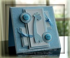 handmade baby card from Pickled Paper Designs ... baby blue and white ... giraffe focal image ... lots of layers ...  buttons on layered circles ... gingham bows ... piercing  .. delightful card!