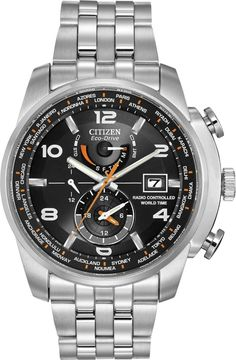 Citizen men watches : Citizen #AT9010-52E Men's Eco Drive Stainless Steel Perpetual Calendar World Time A-T Watch
