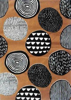 tissu ; imprimé ; brun grillé, noir et blanc