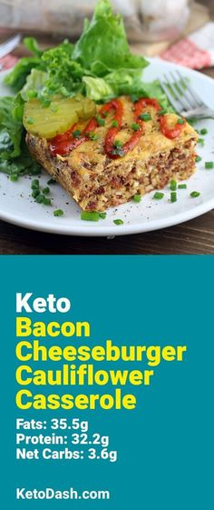Bacon Cheeseburger Cauliflower Casserole, sounds delicious. What a great keto recipe. #keto #ketorecipes #lowcarb #lowcarbrecipes #healthyeating #healthyrecipes #diabeticfriendly #lowcarbdiet #ketodiet #ketogenicdiet