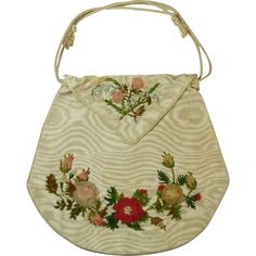 RESERVED Antique Regency Reticule Purse Moiré Silk Aerophane Ribbon Work Chenille 1810