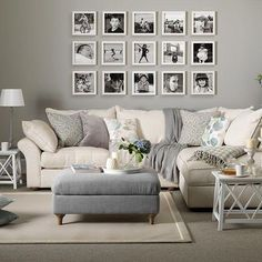 Vintage Decor Living Room Grey living room with cream sofa, grey footstool and picture gallery - Looking for neutral living room design ideas? Browse our gallery of neutral living rooms including ideas for living room flooring and wallpapers Gray And Taupe Living Room, Cream Sofa Living Room Color Schemes, Grey Living Rooms, Grey Carpet Living Room, Cream And White Living Room, Living Spaces, Charcoal Sofa Living Room, Cream And Grey Kitchen, Cream And Grey Bedroom