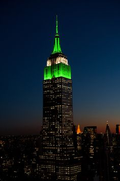 December 6, 2015: The Empire State Building congratulates the New York Jets on their win over hometown rivals the New York Giants with lights in green and white for one hour.