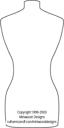 Dressmaker's Mannequin - template for paper / cardboard cutout. From: http://www.ruthannzaroff.com/mirkwooddesigns/mannequin.htm
