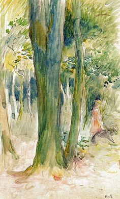 Berthe Morisot - Under the Trees in the Forest, 1893 (Musee Marmottan Monet - Paris France) at Museo Thyssen-Bornemisza Madrid Spain