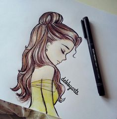 Belle by debbyarts on deviantart disny belle drawing, disney drawings и tum Easy People Drawings, Drawing People, Easy Drawings, Simple Disney Drawings, Pencil Drawings, Bff Drawings, Cute Drawings Tumblr, Beautiful Drawings, Beautiful Images