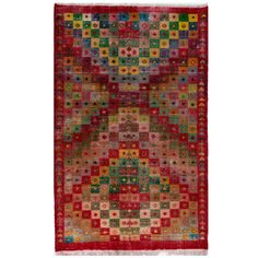 Colorful Mid-Century Modern Turkish Rug | From a unique collection of antique and modern turkish rugs at https://www.1stdibs.com/furniture/rugs-carpets/turkish-rugs/