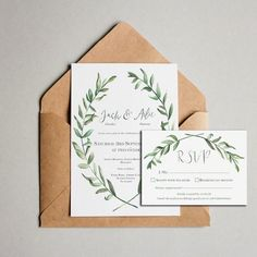 Olive leaf wreath Wedding InvitationGorgeous Wedding Invitation set with a olive leaf wreath design. The colours on the invite can be tweaked to match your colour scheme. The invitation is available on its own, or a matching RSVP can be requested. The Bride and Groom's names are personalised in a hand written font. All the Wedding details can be amended to be perfect for your big day. You have the option of a single sided invite or a double sided invite with 'Guest information'...