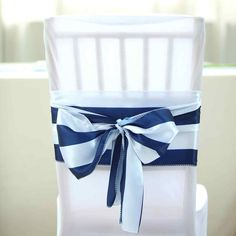 x Stripes Satin Chair Sash for Wedding Decor Chair Bow Sash Party Decoration Wedding Chair Sashes, Blue Wedding Decorations, Striped Chair, Chair Bows, Satin Color, Navy And White, Navy Blue, A Table, Nautical Wedding