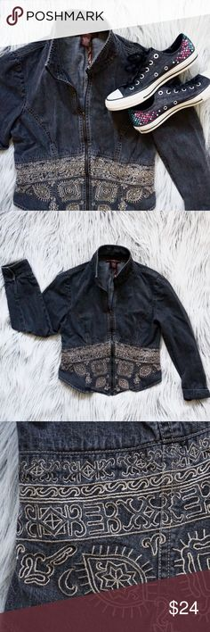 Embroidered Denim Jacket Cute denim jacket!  Embroidered boho design.  Pretty stitching.  Has stretch.  Fits like an 8/10.  Ready to help with any questions you may have!  Next-day shipping - Open to offers - Thanks for looking!  Check out the other great jackets I have in my closet right now! 💕✌🏻️ Bandolino Jackets & Coats Jean Jackets