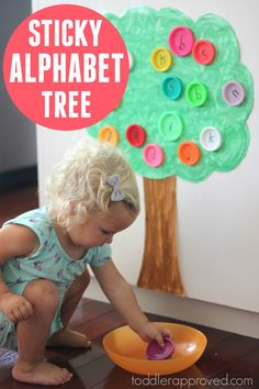 Make a sticky alphabet tree and explore the alphabet with toddlers and preschoolers!