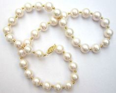 real perfect AAA+ 10-11mm akoya white natural Pearl Necklace 18  Gold Clasp