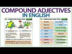 What are compound adjectives? A compound adjective is sometimes called a hyphenated adjective. In this advanced English grammar lesson, we look at why there . Advanced English Grammar, English Grammar Quiz, English Quiz, English Adjectives, Nouns And Adjectives, English Verbs, Learn English, English Language, Grammar Posters