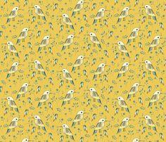 birds on brilliant amber yellow small fabric by colorofmagic on Spoonflower - custom fabric Fabric Shop, Custom Fabric, Fabric Birds, Surface Design, Spoonflower, Amber, Craft Projects, Fabrics, Colorful