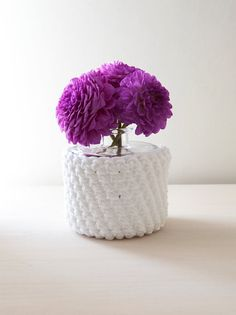 White crocheted vase - made by Home sweet home design (etsy shop)