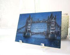London Tower Bridge over River Thames Original ACEO: Miniature Art of Europe (England, UK)