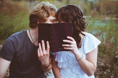 Engagement Photo shoot. Couple reading bible.  www.haleychristine.com