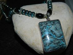 Blue Laguna Lace Agate Pendant Necklace by nmarzoladesigns on Etsy, $28.00