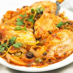Chicken with Olives Looking for a new way to cook chicken? Try this savory recipe that includes chicken, olives, garlic, tomatoes, capers, and more.