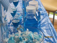 jelly shot, blue drink and candy
