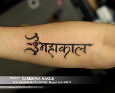 Awesome Mahakaal custom designed & tattoo by - Karishma Bholenath Tattoo, Mantra Tattoo, Epic Tattoo, Type Tattoo, Sanskrit Tattoo, Old Tattoos, Body Art Tattoos, Tatuaje Toy Story, Mahadev Tattoo