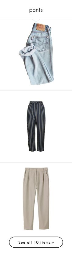 """pants"" by flowersinponds ❤ liked on Polyvore featuring pants, jeans, bottoms, pantalones, capris, delete, navy blue, roll up pants, striped pants and peg pants"