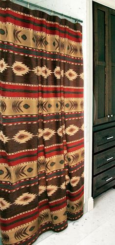 Western Shower Curtains: Cimarron Southwest Shower Curtain|Lone Star Western Decor