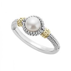 Freshwater cultured pearl ring with Caviar beading in 18k gold and sterling silver.
