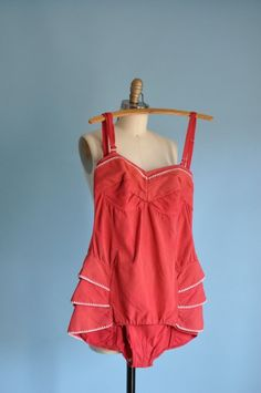 vintage 1940s red HIPS ARE MY RUFFLE swimsuit. i wonder how it would do in water