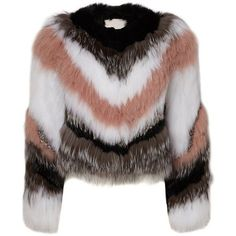 Apollo Jacket ($1,995) ❤ liked on Polyvore featuring outerwear, jackets, long sleeve jacket, colorful jackets, brown cropped jacket, brown fur jacket and multi color fur jacket