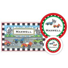 """The perfect personalized gift for a child: plate, place mat and bowl set. This is one of my favorite, called """"Race Track""""."""