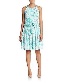 Chetta B Printed Cotton A-Line Dress - White - Aqua - Size