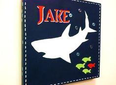 Shark Art for boys room or bath 12x12 by CuteAsAButtonArt on Etsy, $26.00