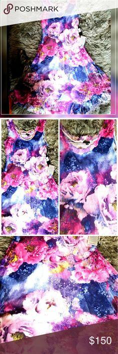 "Komarow Spring Long Sheer Dress Floral sheer dress with silver slip. Length 46"", Bust 38"". Komarov Dresses Maxi"