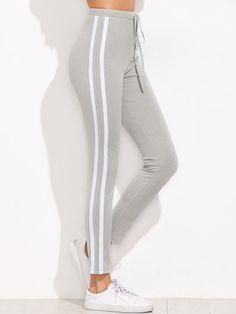 Pantalones de chándal con rayas - gris