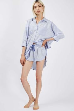 Where to buy chic summer sleepwear from @stylecaster | Striped Pyjama Nightshirt and Short, $76; at Topshop