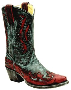 Ladies Charcoal Turquoise/Red Short Top Wingtip