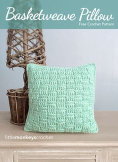 Basketweave Throw Pillow Crochet Pattern | free crochet pattern by Little…