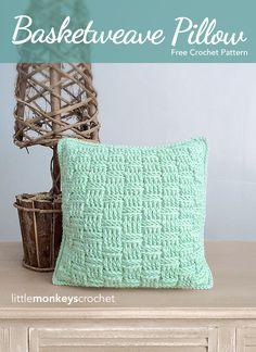 Basketweave Throw Pillow Crochet Pattern | free crochet pattern by Little…