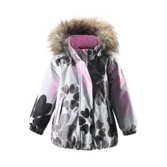 REIMA Girls Mini Funktionsjacke Scenic pale grey #Kinderwinterjacke #Kinderskijacke #Fellkapuze #grau #pink #blumen #reima #warm #kuschelig #Kinder #Mädchen