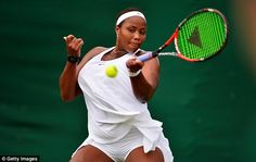 American Taylor Townsend plays a forehand as she contests her Wimbledon qualifying match...