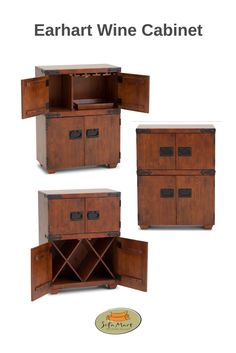 Rustic yet chic: dark cherry finished piece features rich wood tones, rustic hardware, and solid construction.