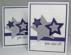 Graduation Cards created with the Bravo photopolymer stamp set and Stars Framelits (CASE'd from Mary Brown)