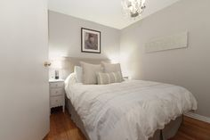 A subtle gray tint is a nice alternative to white. Gray tints will provide a feeling of openness to small or windowless rooms. Traditional Bedroom by A Good Chick To Know White Paint Colors, Paint Colors For Home, Grey Paint, Gray Color, Home Bedroom, Master Bedroom, Bedroom Decor, Bedroom Lighting, Bedroom Ideas