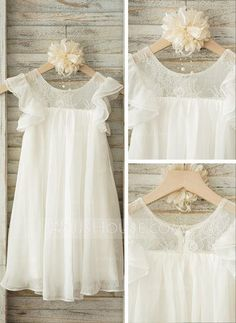 A-Line/Princess Scoop Neck Knee-length Lace Chiffon Short Sleeves Flower Girl Dress Flower Girl Dress