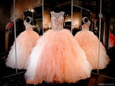 2016 New Rhinestone Crystals Blush Peach Quinceanera Dresses Sexy Sheer Jewel Sweet 16 Ruffle Ruffles Skirt Princess Prom Ball Party Gowns Quinceanera Dress Formal Gowns Sweet 16 Dresses Online with 152.0/Piece on Magicdress2011's Store | DHgate.com